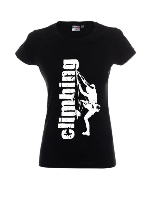 Czarna damska koszulka z napisem climbing dla wspinaczy
