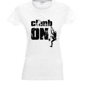 Biała koszulka damska dla wspinaczy z czarnym napisem climb on