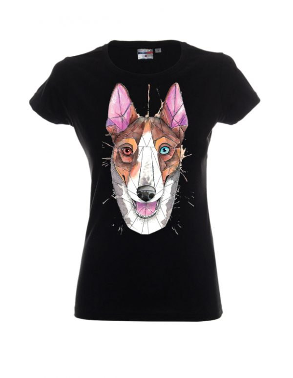 Koszulka damska czarna z motywem psa