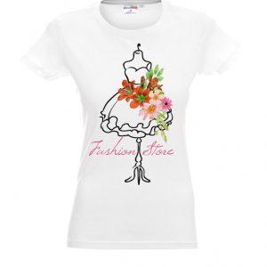 Biała koszulka damska fashion z motywem kwiatów.