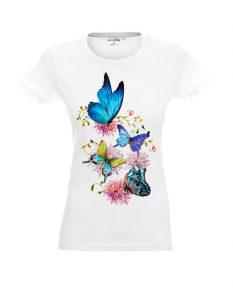 Koszulka biała damska w motyle