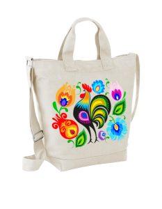 Pojemna torba bawełniana z folkowym motywem.