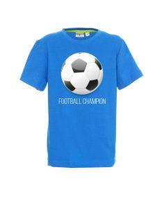 Koszulka męska niebieska z motywem piłki nożnej