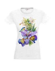 Biała damska koszulka z irysem.