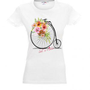 Biała damska koszulka z motywem kwiatów i retro rowera.