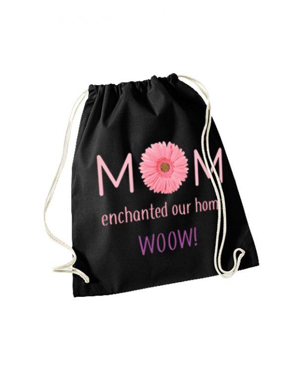Plecak czarny z napisem MOM
