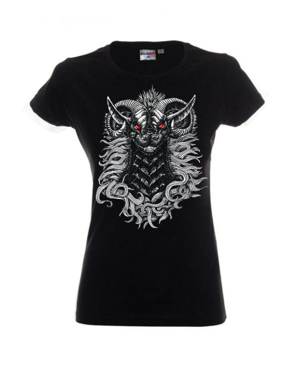 Czarna koszulka damska z demonem o czerwonych oczach