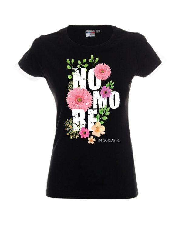 """Czarna damska koszulka w kwiaty z napisem """"No More"""""""