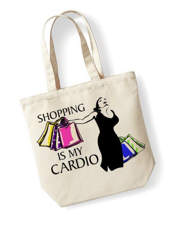 torba z nadrukiem shopping is my cardio