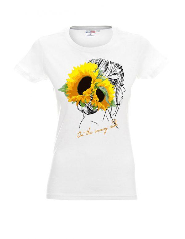 Biała koszulka damska w słoneczniki
