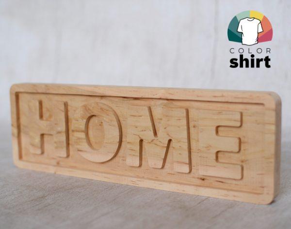 Drewniana tabliczka z napisem HOME