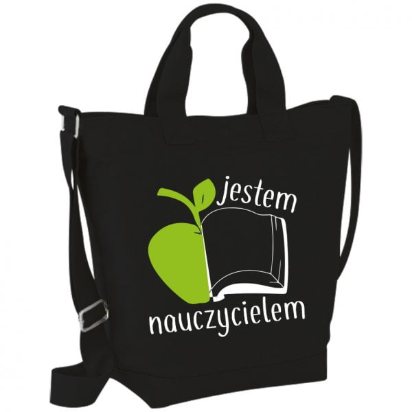 Czarna torba bawełniana na Dzień nauczyciela