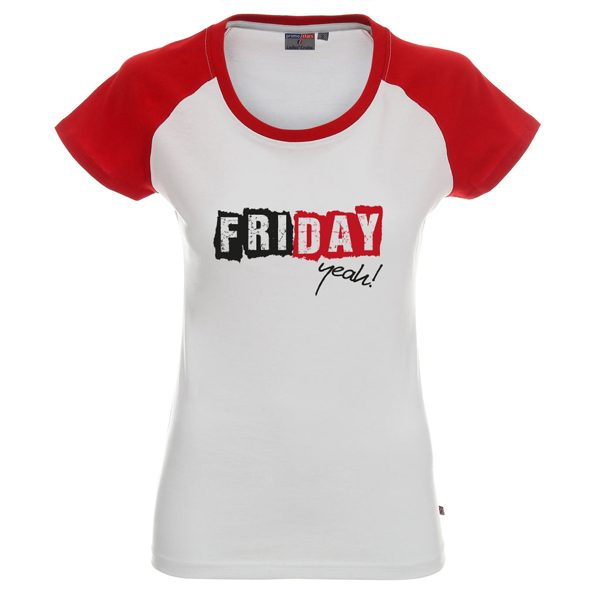 Koszulka biała z czerwonymi rękawkami z napisem friday