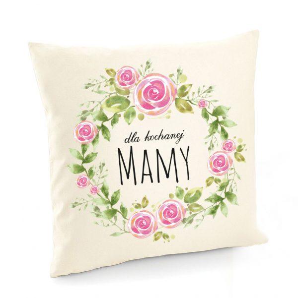 Poszewka z kwiatami i napisem dla kochanej mamy