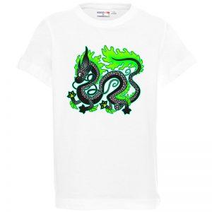 """Koszulka bawełniana z nadrukiem """"Japoński smok""""."""
