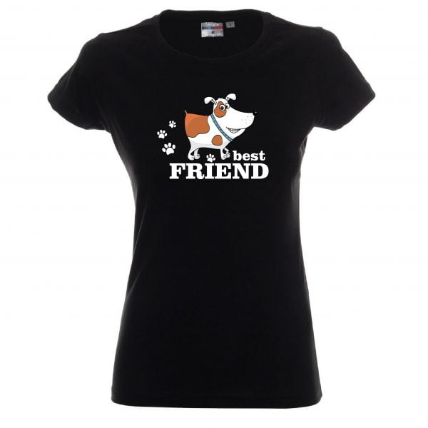Koszulka z kundelkiem czarna damska.