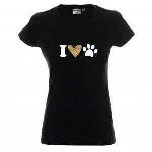 Koszulka z kundelkiem I Love dog, serce i łapka psa