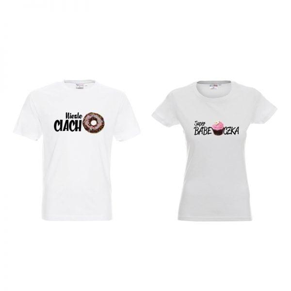 Koszulki dla par ciacho i babeczka