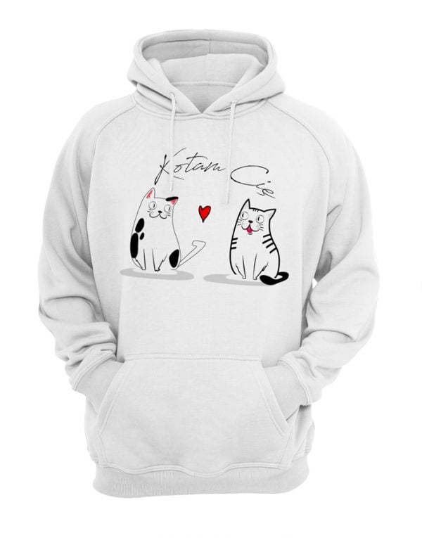Biała bluza z napisem kotam cię