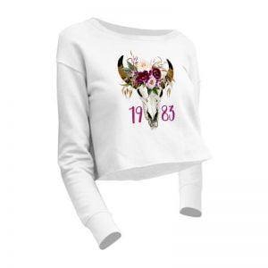 bluza krótki krój z motywem byka i kwiatów oraz datą urodzenia, personalizowana