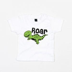 Biała koszulka na krótki rękaw z dinozaurem