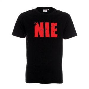 czarna koszulka z czerwonym napisem NIE