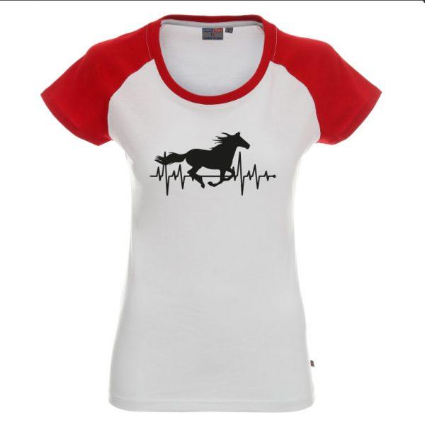Cardio koń koszulka z biała z czerwonymi rękawkami