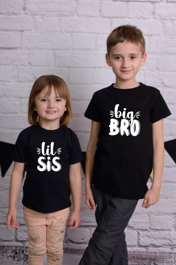 Komplet koszulek czarnych dla rodzeństwa z napisem lil sis i big bro