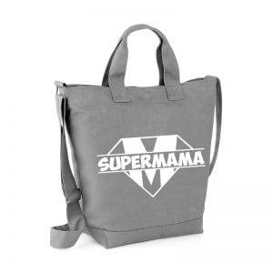 Szara pojemna torba bawełniana z nadrukiem super mama.