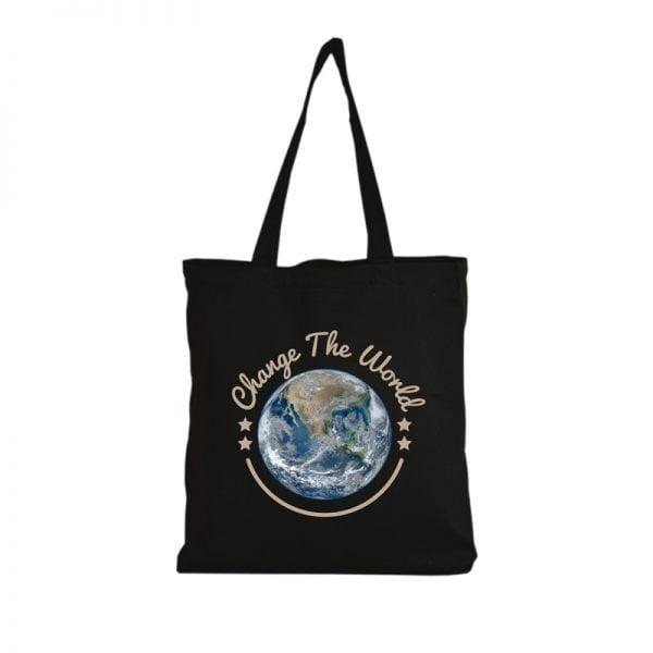 Torba czarna na zakupy z motywem kuli ziemskiej i napisem change the world