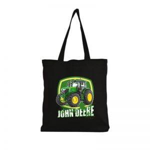 Czarna torba bawełniana na zakupy z motywem amerykańskiego ciągnika John Deere