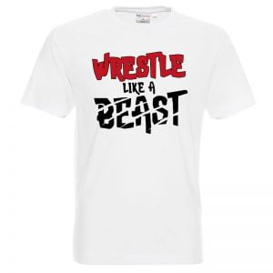 Koszulka biała z nadrukiem Wrestle like a beast