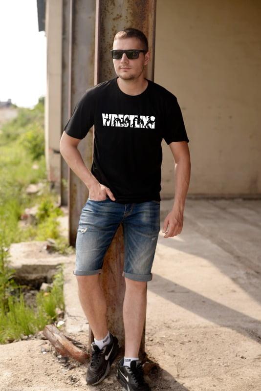 Koszulka z nadrukiem wrestling czarna