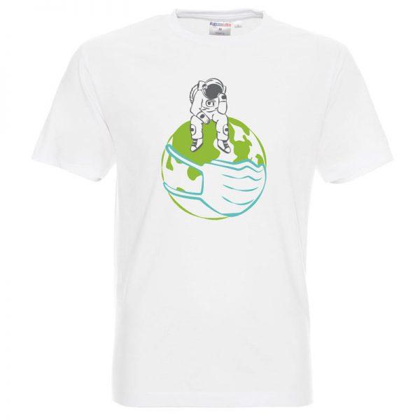 Astronauta na kuli ziemskiej, biała koszulka