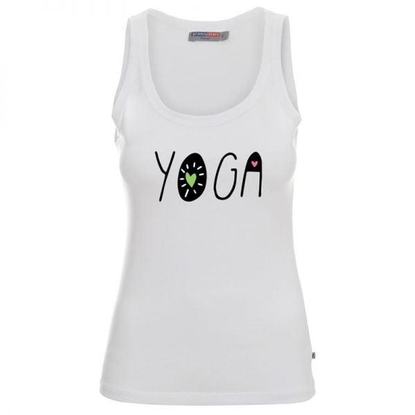 Koszulka biała na ramkach Yoga