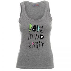 Szara Koszulka na ramiączkach Body Mind Spirit