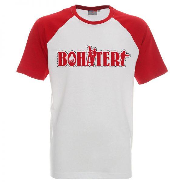 Koszulka biała z czerwonymi rękawkami z napisem Bohater dla strażaka