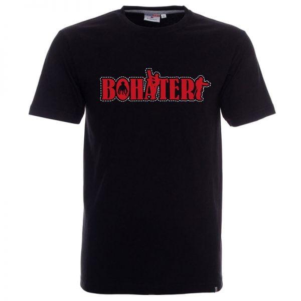 Koszulka czarna dla strażaka z napisem Bohater