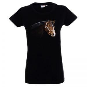 Czarna koszulka z koniem głowa