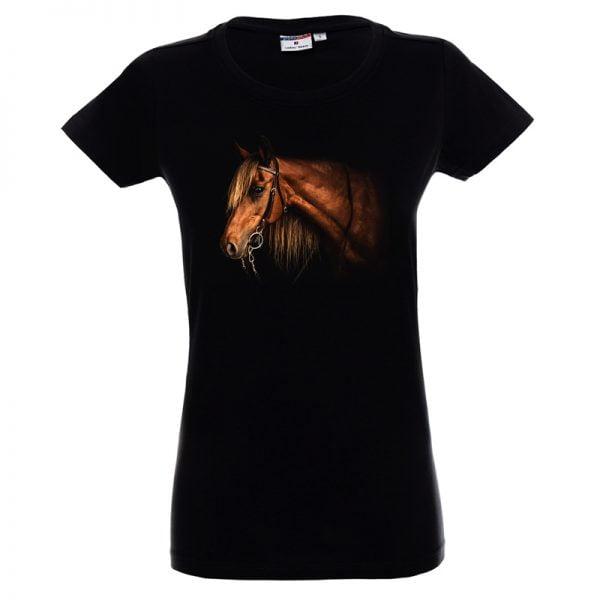 Czarna koszulka z koniem damska