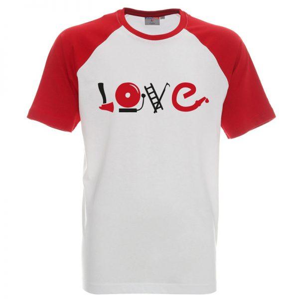 Koszulka biała z czerwonymi rękawkami z napisem love i atrybutami