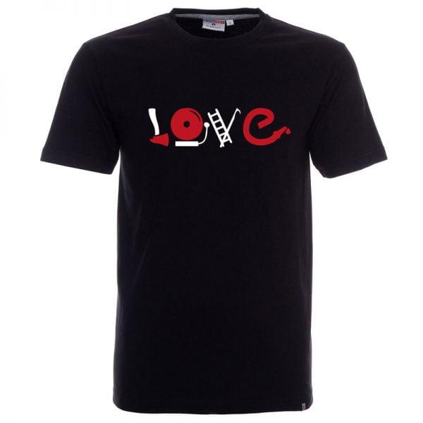 Koszulka czarna dla strażaka z napisem LOVE i atrybutami strażaka