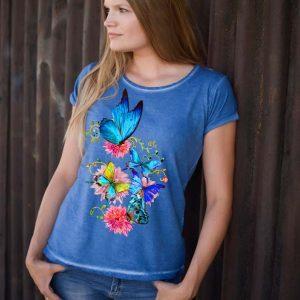 Koszulka w kolorze jeans z błękitnym motylem