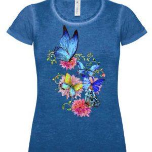 Błękitny motyl na koszulce w kolorze jeans
