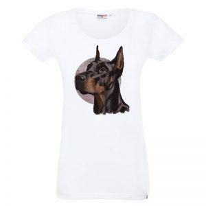 Koszulka biała z psem dobermanem