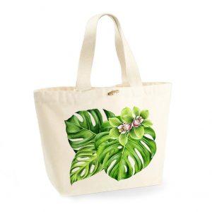 torba plażowa z liściem monstera