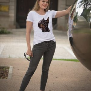 Koszulka z psem dobermanem