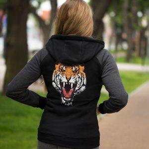Bluza damska czarna z tygrysem na plecach