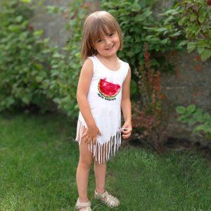 Koszulka z frędzlami z nadrukiem arbuza dla dziewczynki