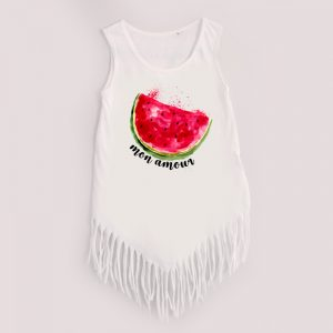 Koszulka z frędzlami biała dla dziewczynki